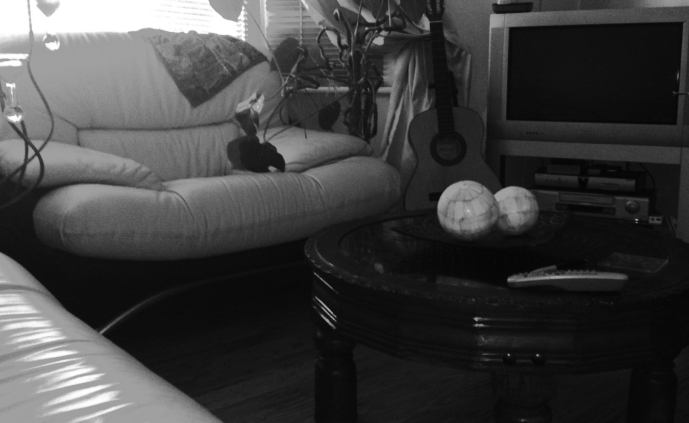Black and White picture of a lounge.